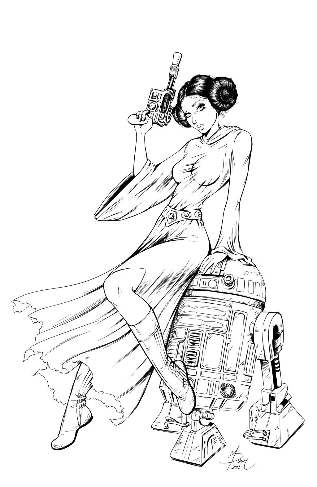 1024x1570 Princess Leia Commission Inked By ~dawn Mcteigue