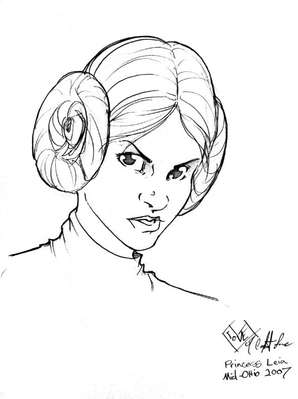 590x790 Princess Leia Head Sketch By Comfortlove