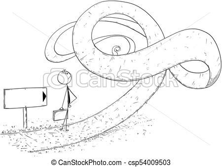 450x339 Conceptual Cartoon Of Businessman Facing Crisis. Cartoon Stick Man