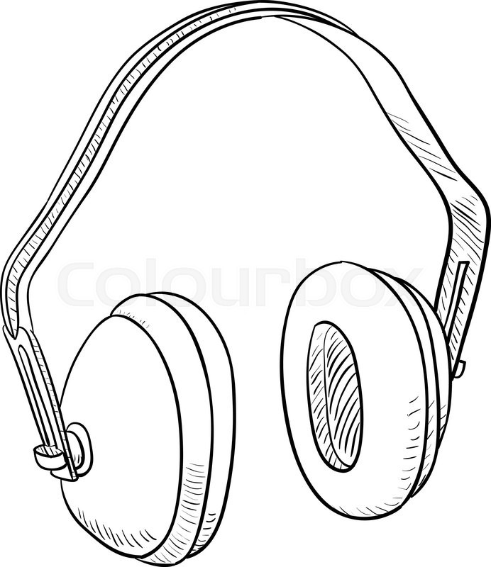 692x800 Hearing Protection Ear Muffs. Template Design Illustration Stock