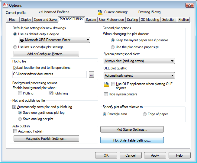 652x540 Autocad 2010 User Documentation Plot And Publish Tab (Options
