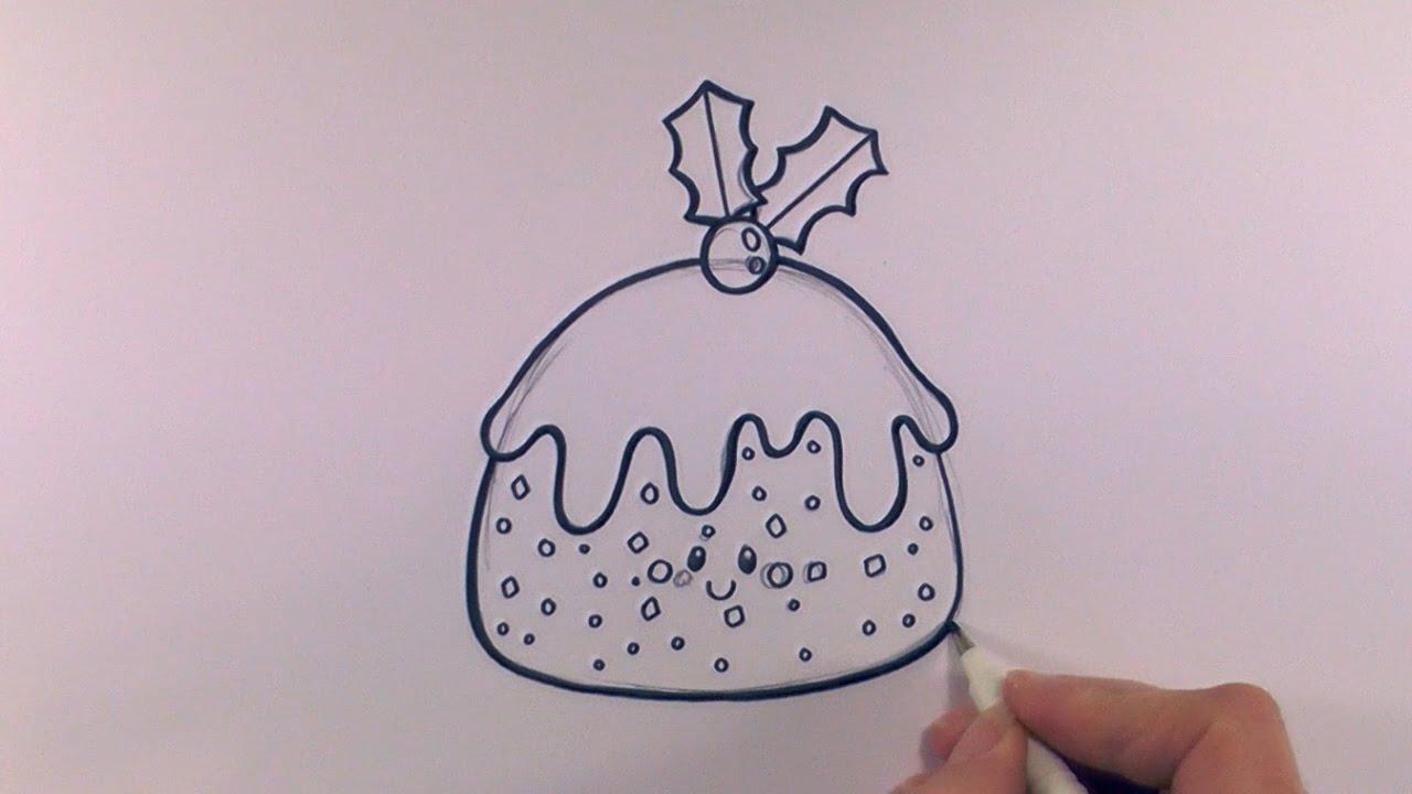 1280x720 How To Draw A Cartoon Christmas Pudding