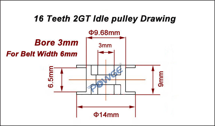 750x439 16 Teeth 2gt Synchronous Idler Pulley Bore 3mm For Width 6mm Gt2