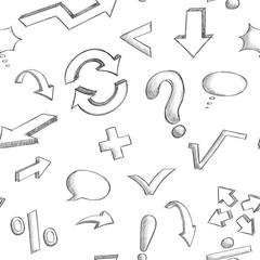 240x240 Mathematics And Punctuation Symbols. Hand Drawn Sketch