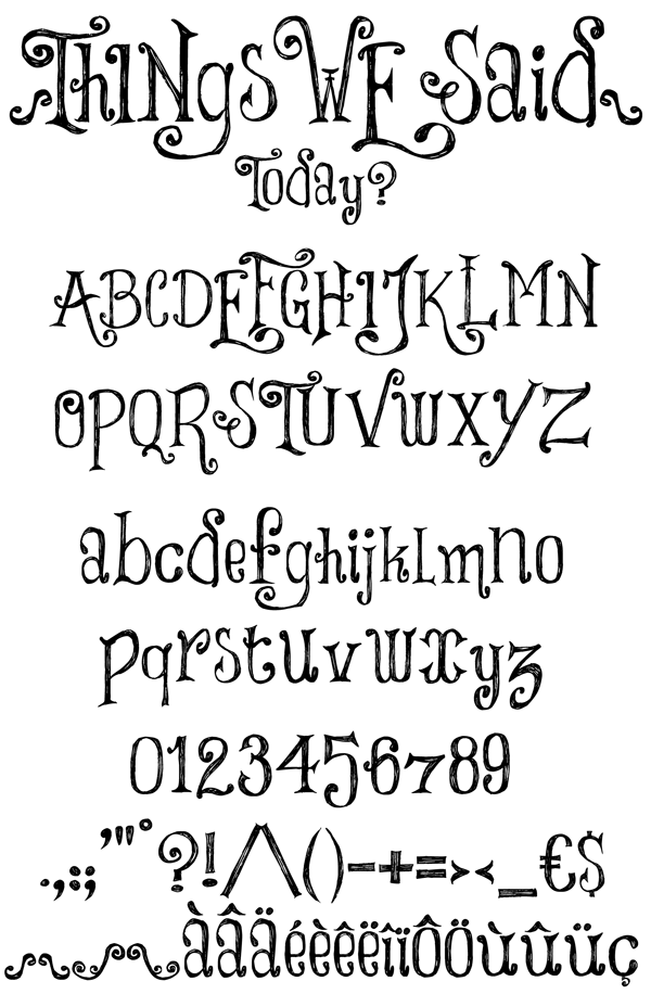 600x916 Things We Said Font