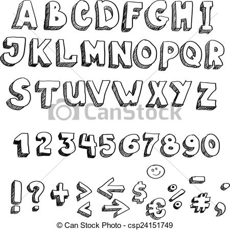 450x450 Vector Hand Drawn Alphabet, Lowercase And Punctuation . Eps