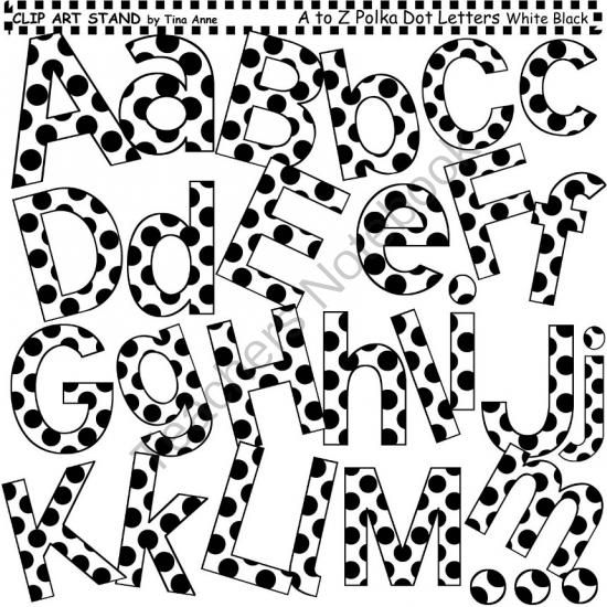 550x550 Clip Art Letters And Punctuation Polka Dots White And Black