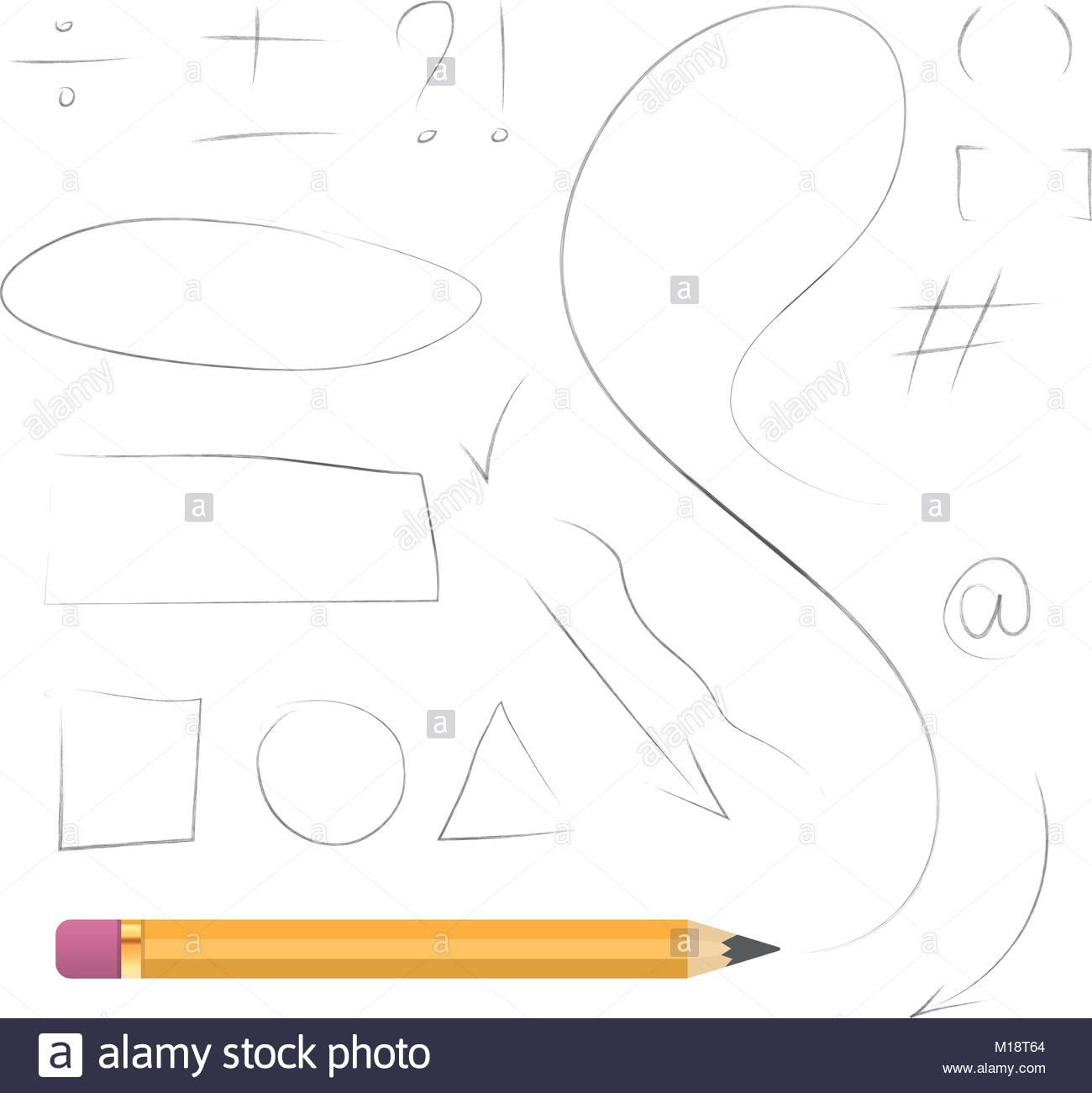 1300x1301 Realistic Pencil Vector Hand Drawn Geometric Shapes, Math Symbols