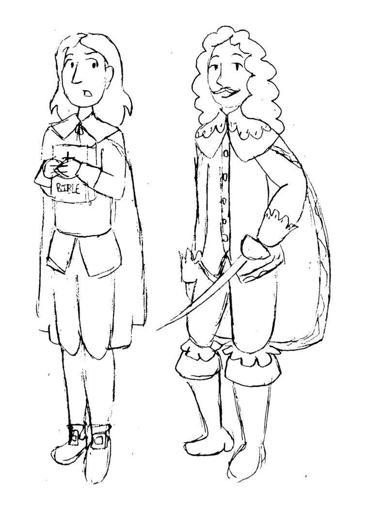 755x1057 Sketch Of A Puritan And A Cavalier By Wertyla