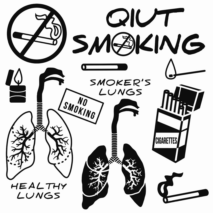 741x741 Quit Smoking Design Elements Printable Image Illustration Sketch