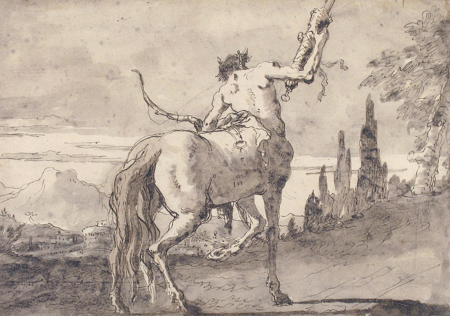 900x633 Centaur Holding Up A Quiver Drawing By Giovanni Domenico Tiepolo