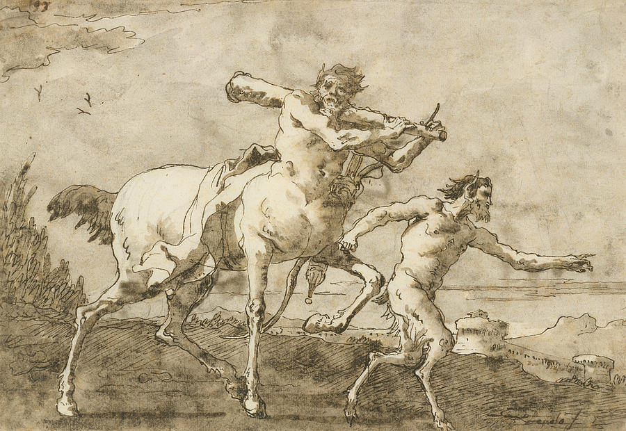 900x620 Satyr Leading A Centaur, Who Carries A Club, Bow And Quiver