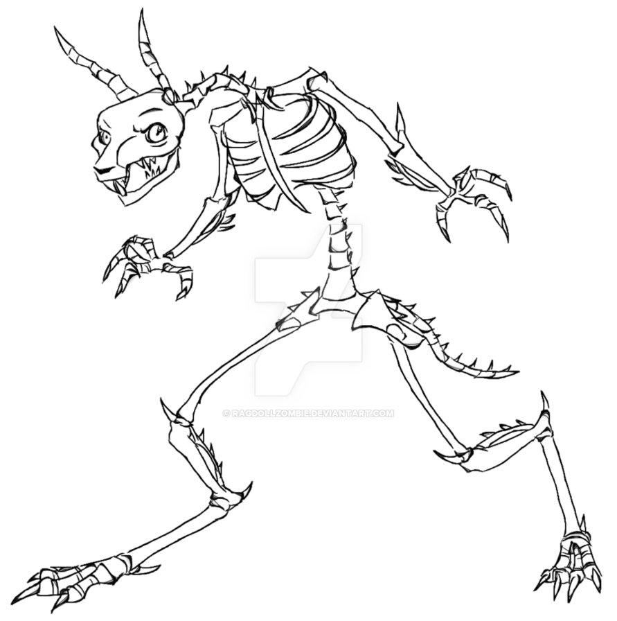 891x896 Skeleton Rabbit By Ragdollzombie
