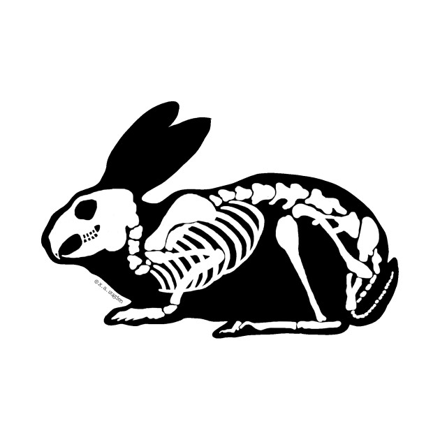 630x630 Black And White Skeleton Rabbit