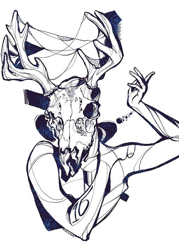 570x798 Lagomorph Greetings Floral Rabbit Skull 5x7 Art Art Prints