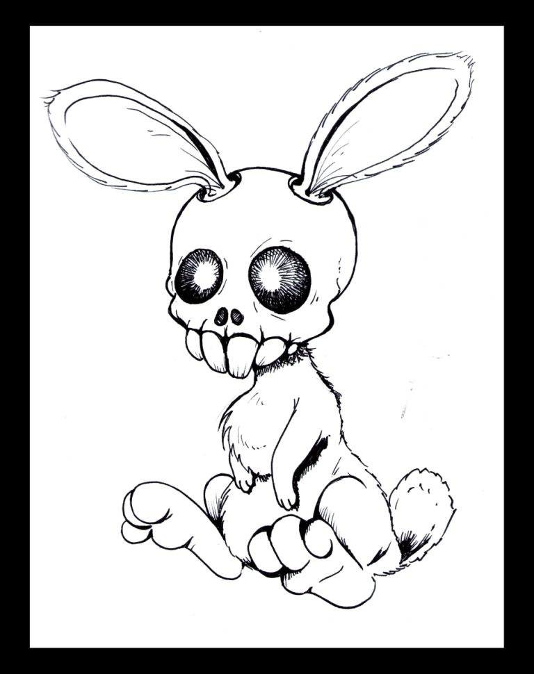 768x970 Skull Bunny Lines By Katchan666