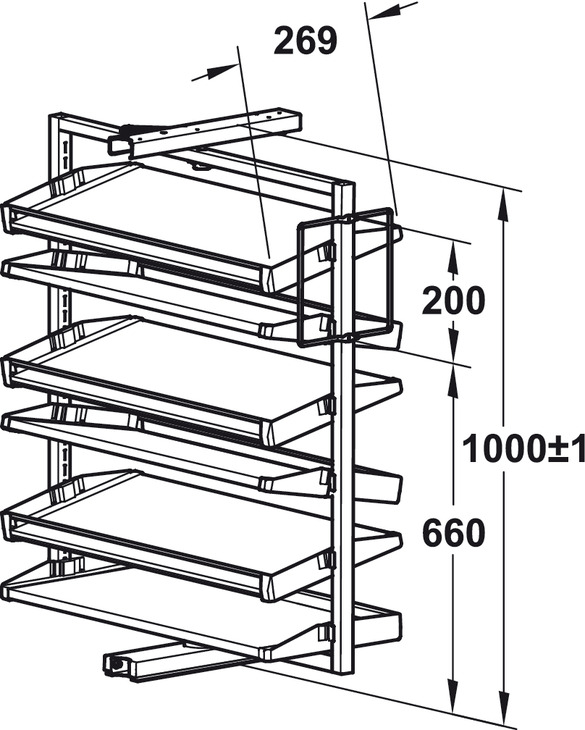 585x730 Pull Out Shoe Rack, Rotating For Up To 20 Or 50 Pairs
