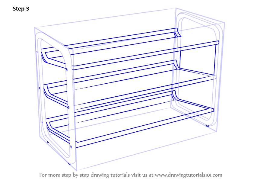 842x596 Learn How To Draw Shoe Rack (Furniture) Step By Step Drawing