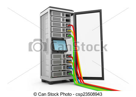 450x320 Server Rack With Network Cables Drawing