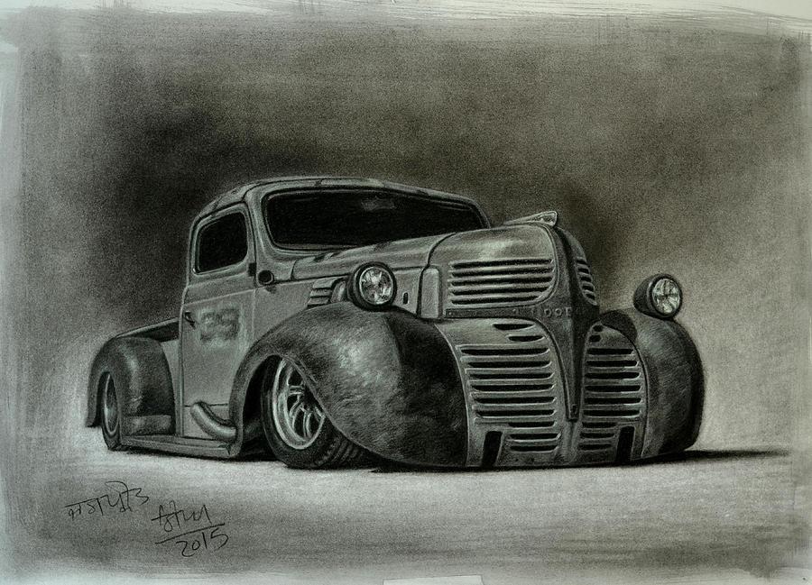 900x649 1947 Dodge Truck Rat Road Drawing By Jaspreet Singh