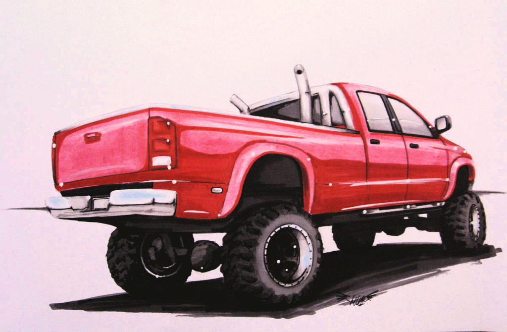 1024x670 Collection Of Ram Truck Drawing High Quality, Free Cliparts