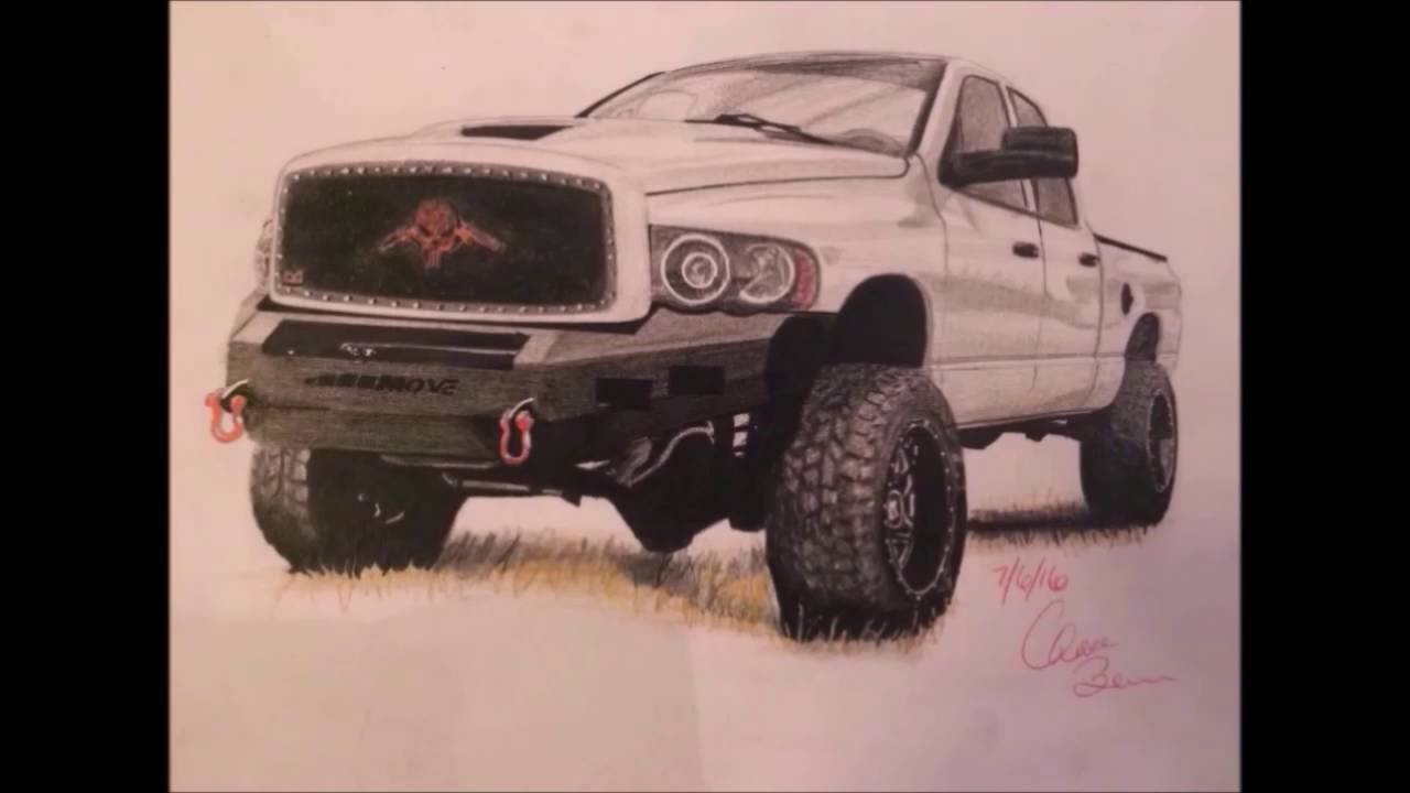 1280x720 Dodge Ram Time Lapse Drawing