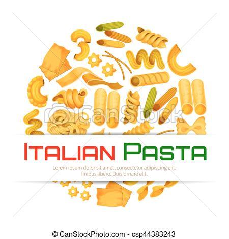450x470 Italian Pasta Vector Poster Or Menu. Pasta Poster Or Italian