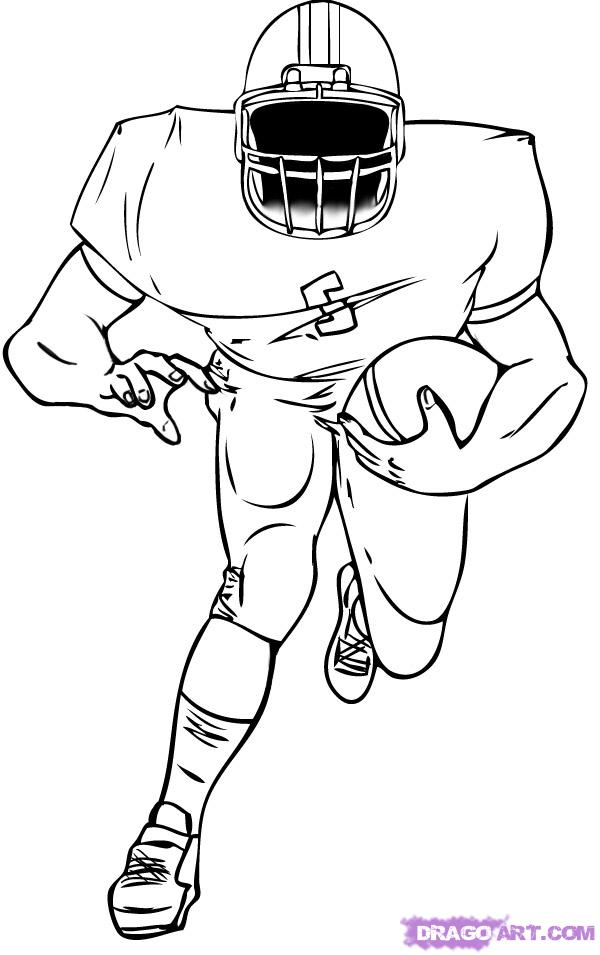 600x955 Collection Of A Football Player Drawing High Quality, Free