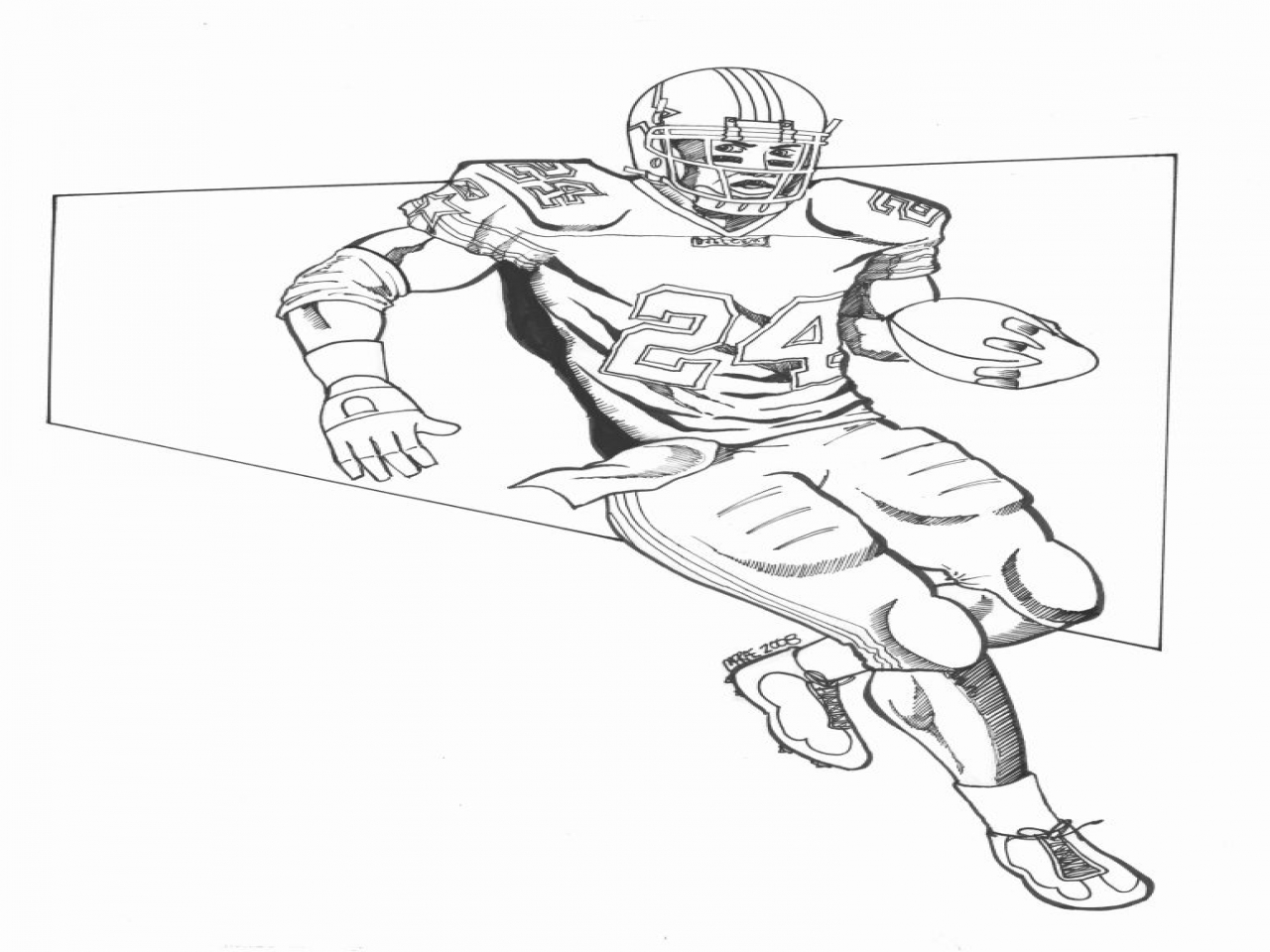 1280x960 Nfl Quarterback Coloring Pages Football Player Drawings Redskins