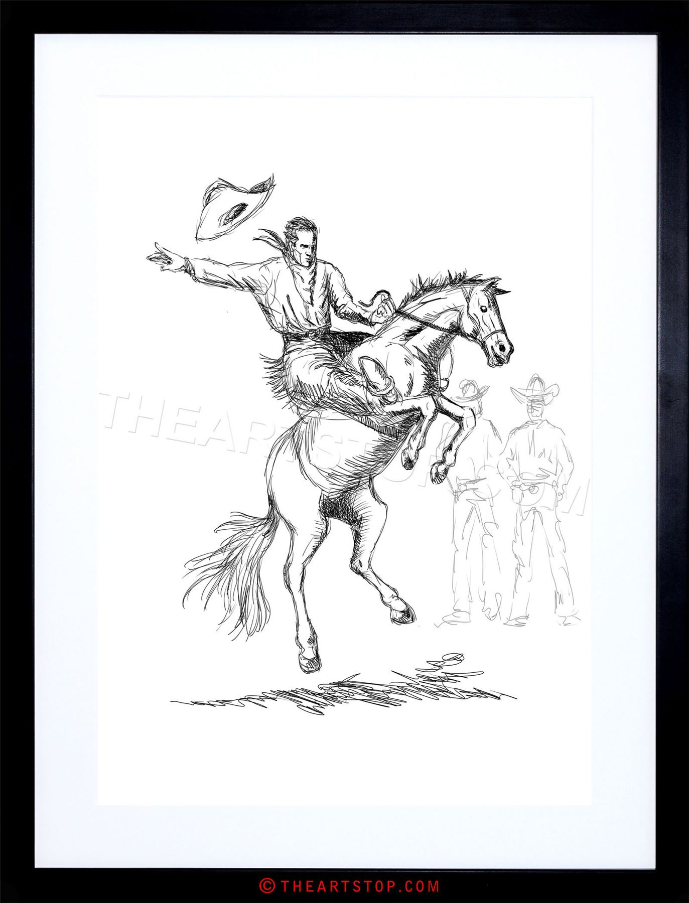 1373x1800 Painting Drawing Sketch Rodeo Cowboy Horse Hat Bronco Buck Framed