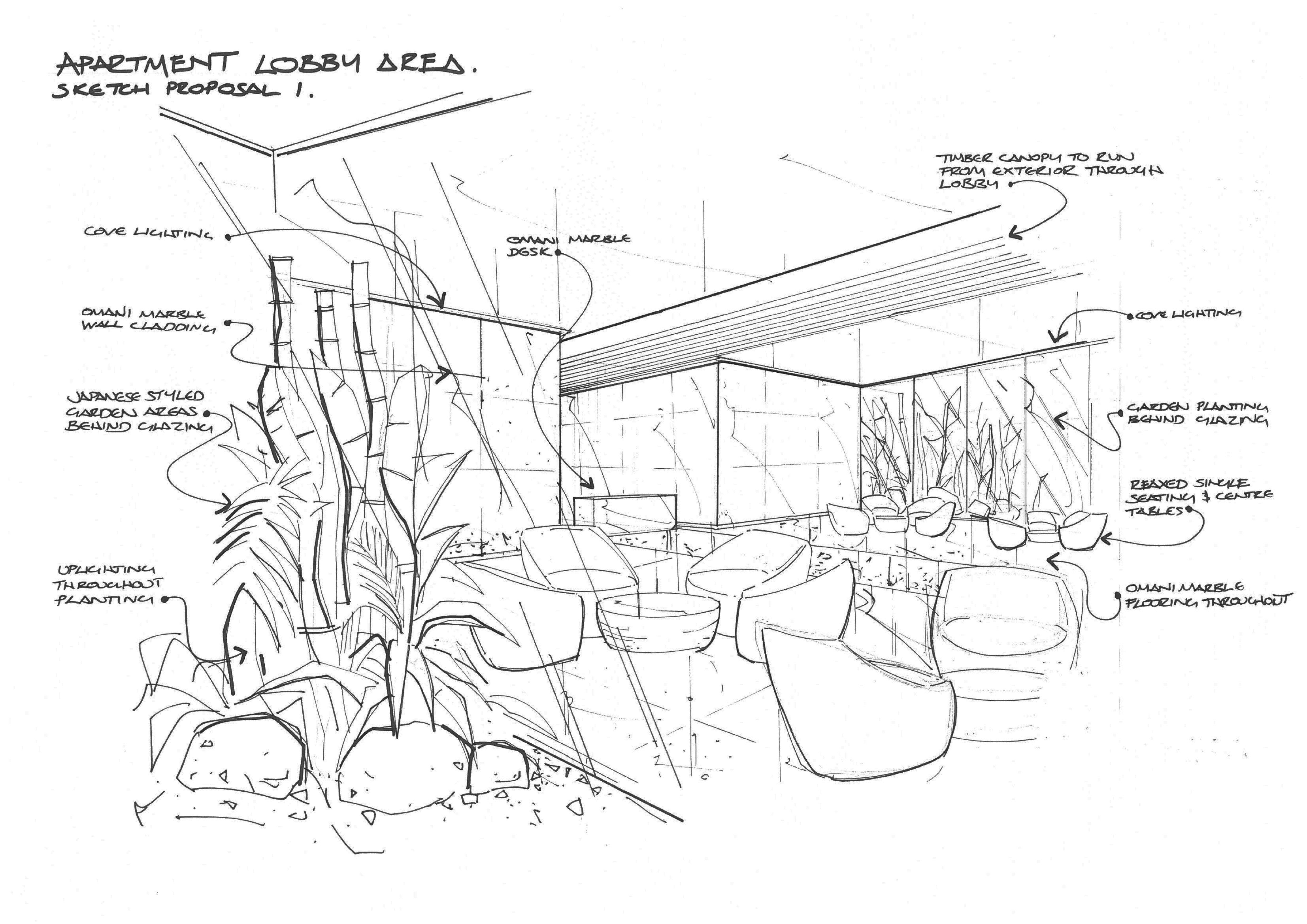 4958x3504 Apartment Reception Sketches
