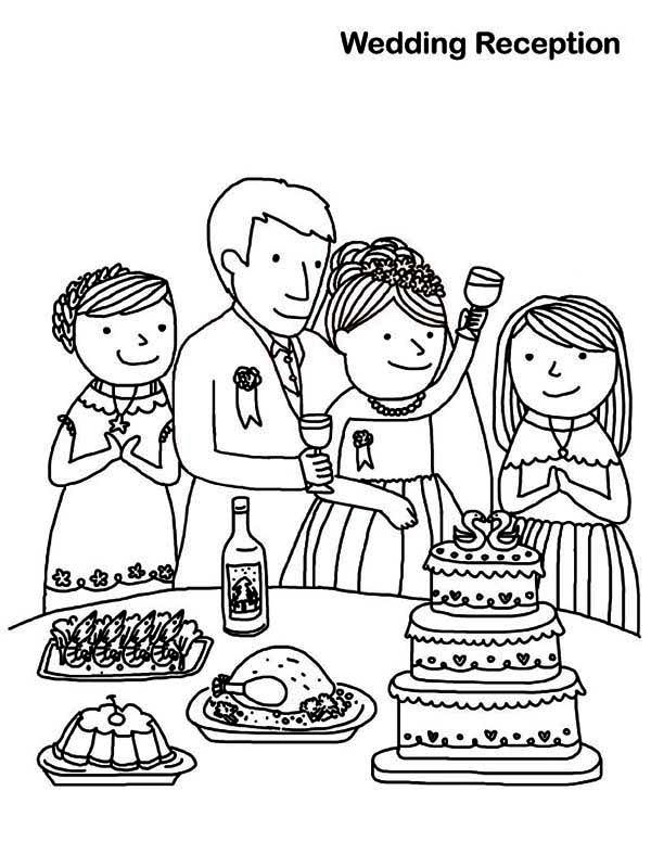 600x776 Wedding Reception Coloring Page Coloring Sun