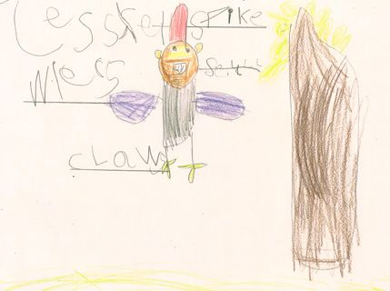 429x320 A Drawing Of A Flying Reptile By A Reception Class Pupil