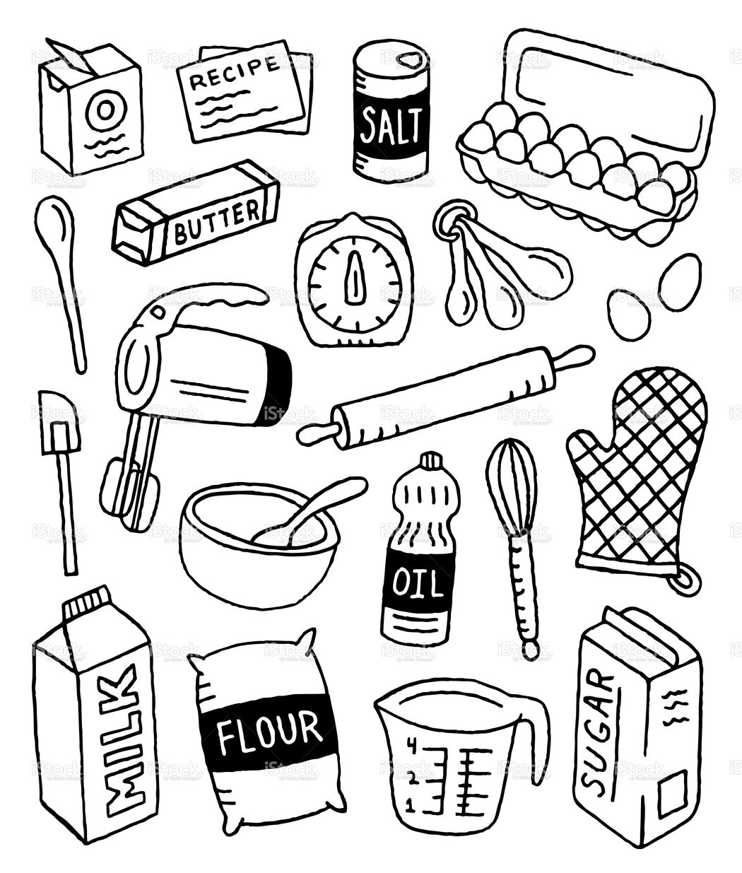 1050x1235 A Baking Themed Doodle Page. Journal Doodle