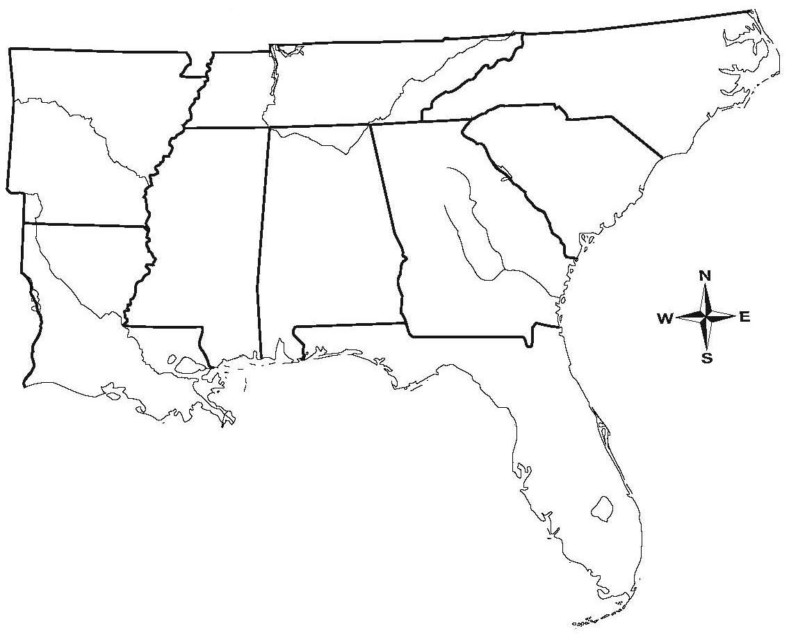 1148x924 Us Map South Region Printable Blank Outline Beautiful Southeast