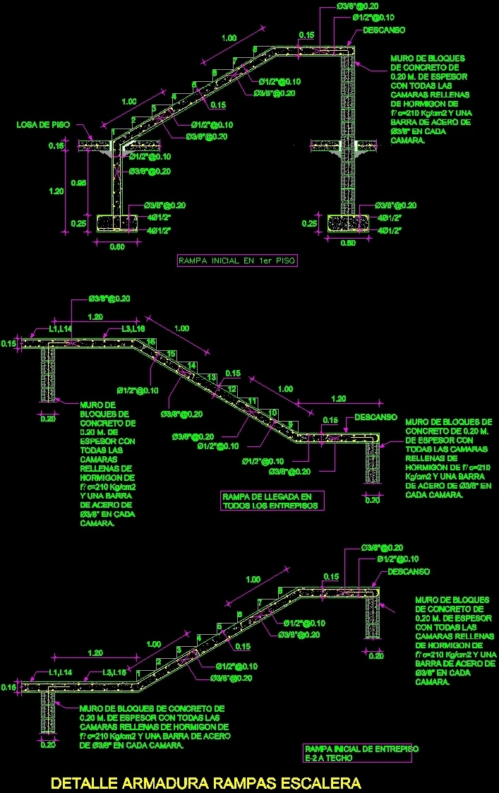707x1123 Reinforced Concrete Staircase Detail Dwg Detail For Autocad