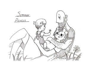 300x240 Summer Picnics Drawing By Pete Duffield