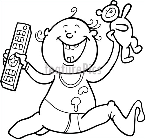 500x480 Illustration Of Boy With Remote Control And Teddy Bear