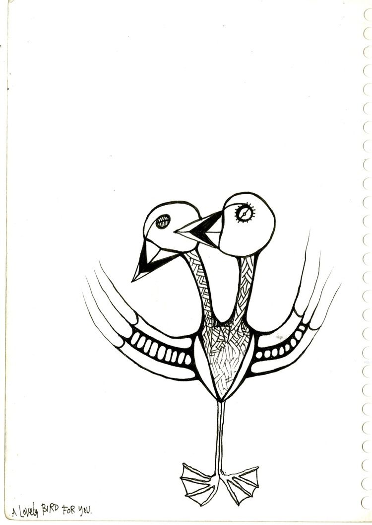 750x1057 A Lovely Bird For You Two Headed Bird Fine Line Drawing Black