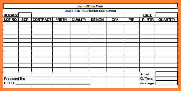 612x307 Daily Report Template Excel Format In Production Allowed Drawing