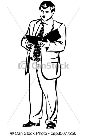 300x470 Black And White Sketch Of A Man In A Jacket And Tie Reading