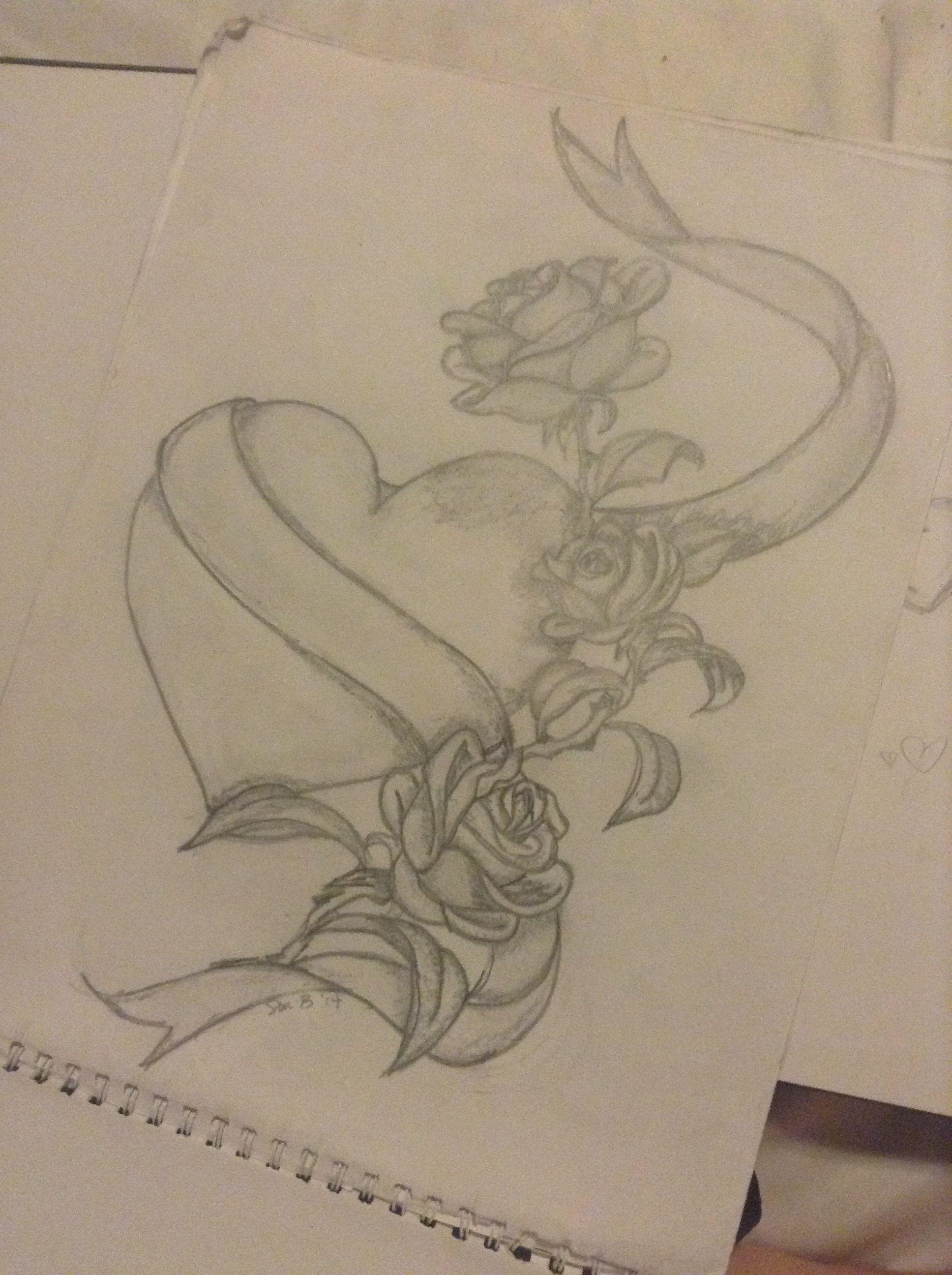 1936x2592 Heart Wribbon Amp Roses Drawing Ideas Tattoo