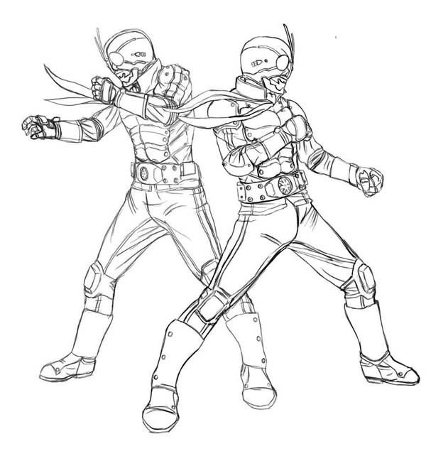 600x642 How To Draw Kamen Rider The First Coloring Page