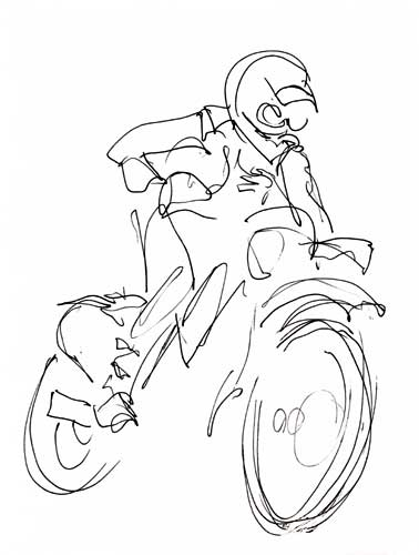 378x500 Ink Line Drawing Of A Motorcycle Rider