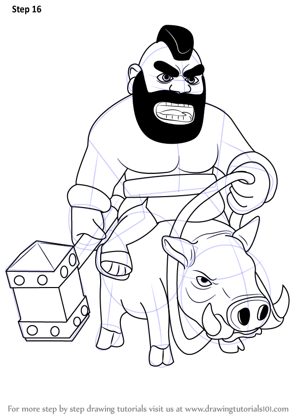 598x844 Learn How To Draw Hog Rider From Clash Clans (Clash