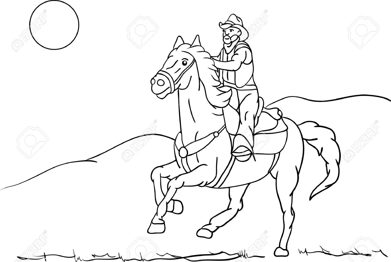 1300x871 Cowboy On A Horse Drawing Older Rider On Horseback Riding Fast