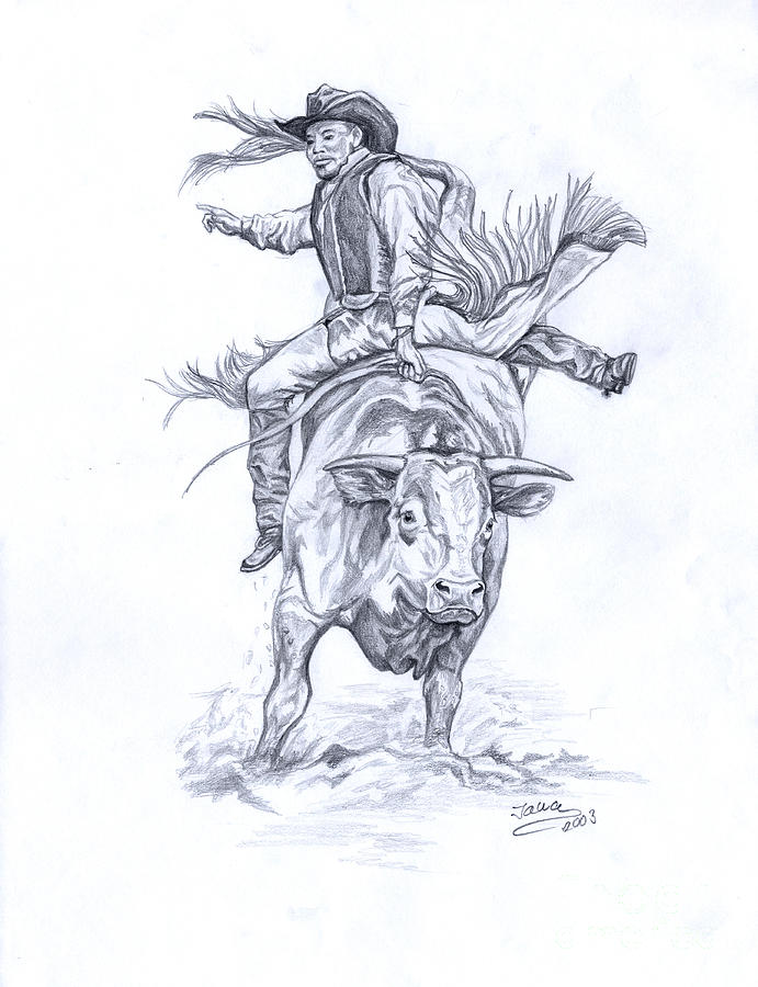 691x900 Bullrider Drawing By Jana Goode