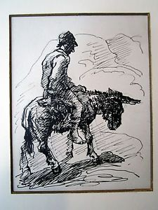225x300 Donkey Rider Drawing By Eugene Higgins Ebay