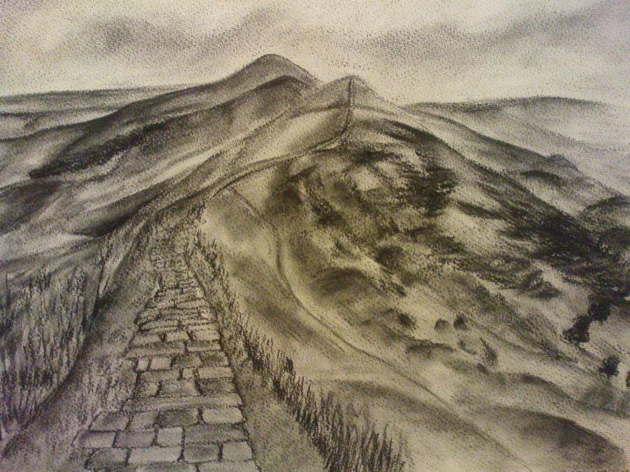 900x675 Mam Tor Ridge Drawing By Jebus139