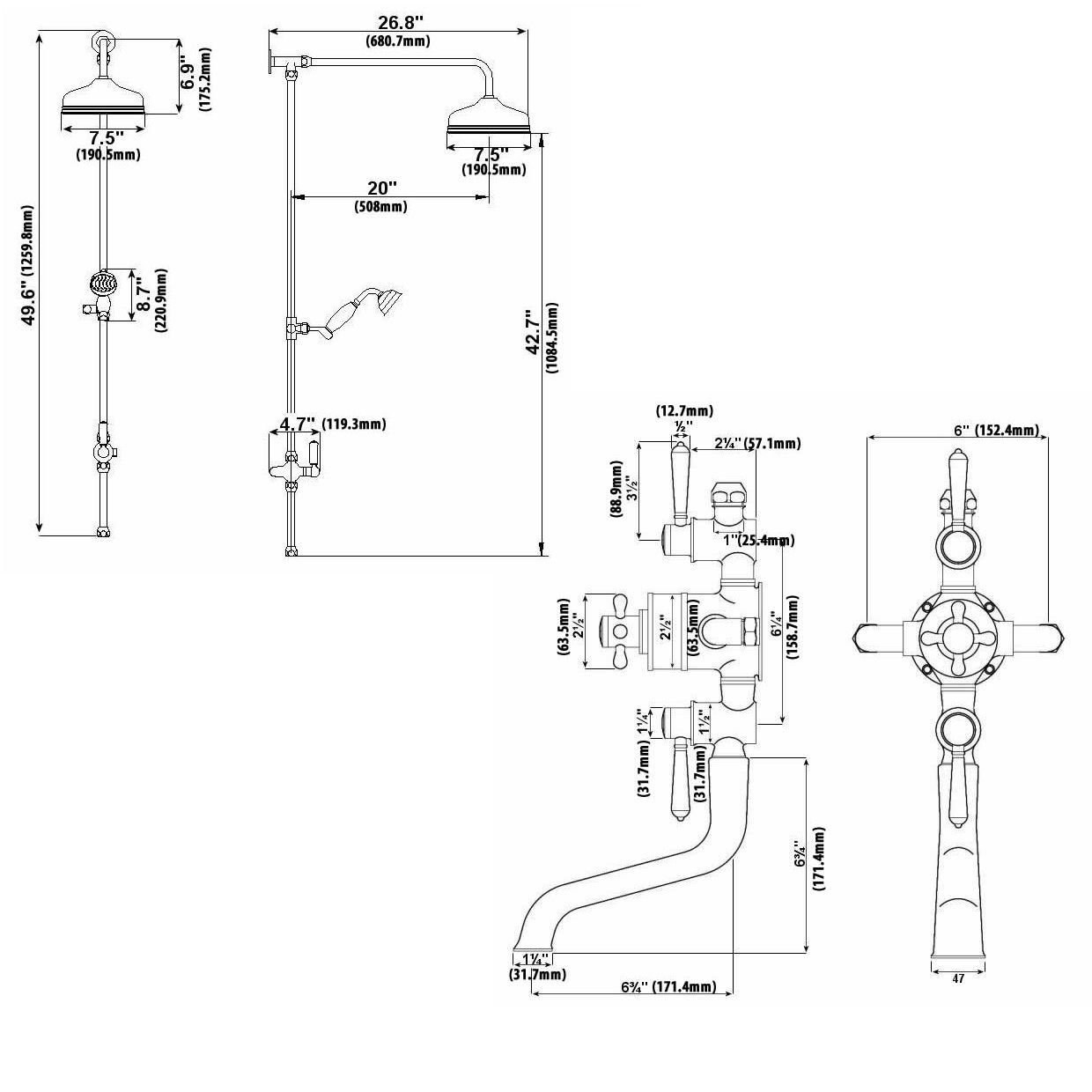 1240x1240 Traditional Thermostatic Shower System With Rigid Riser Amp Bath Filler